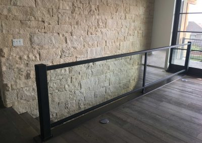 Residential-glass-handrail-with-black-powder-coat-finish-2